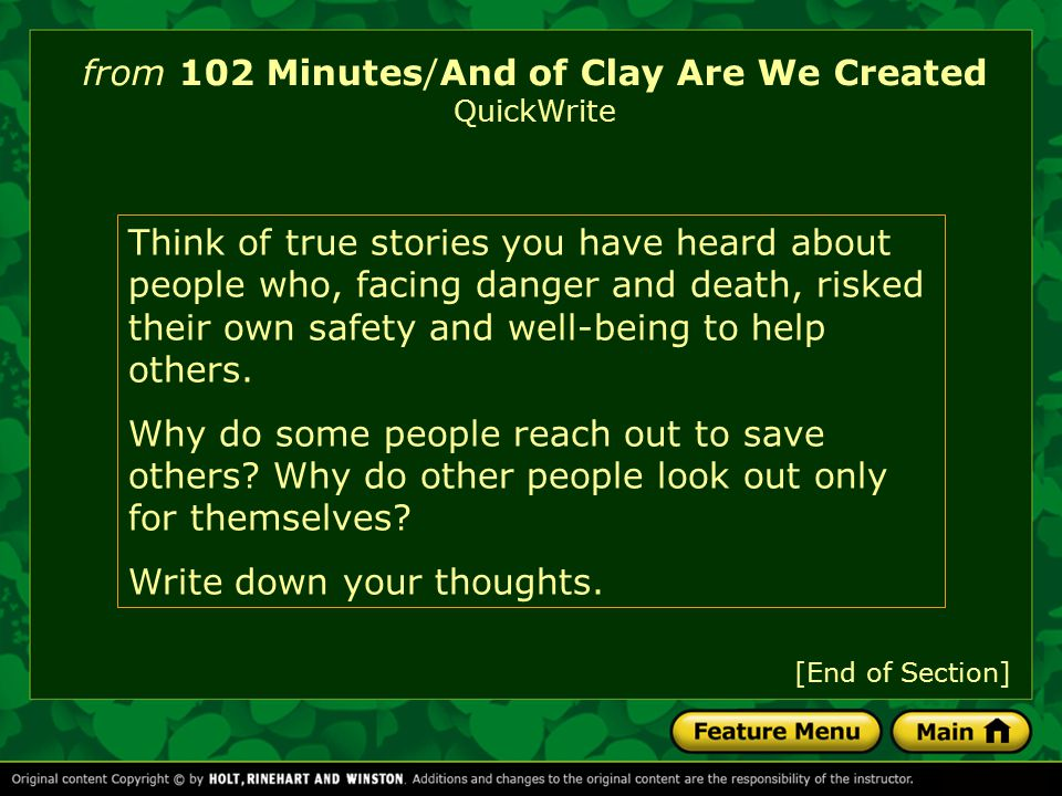 and of clay are we created 14/04/33 best answer: besides probably belonging in religion or philosophy, i think it would take a degree in philosophy to decode the meaning of your question.