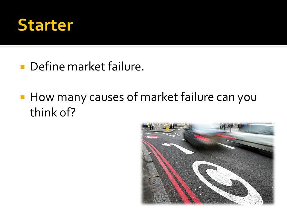 Starter Define market failure.