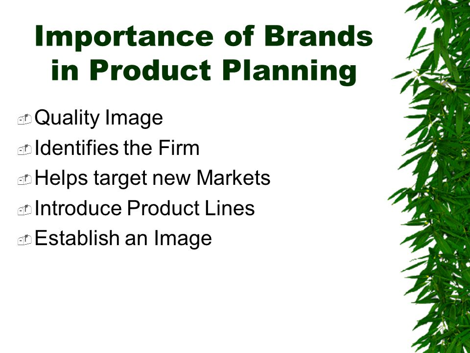 Importance of Brands in Product Planning