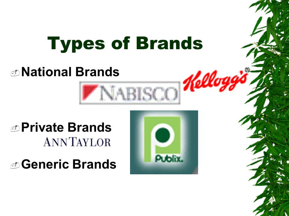 Types of Brands National Brands Private Brands Generic Brands