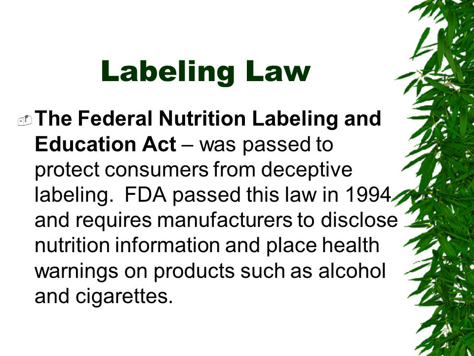 Labeling Law