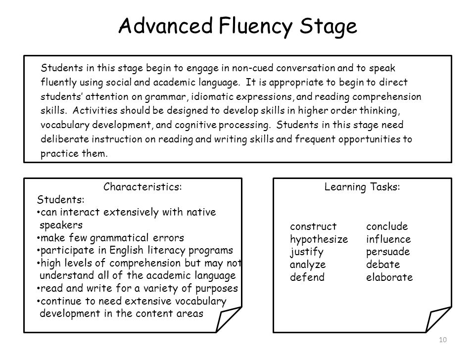 Advanced Fluency Stage