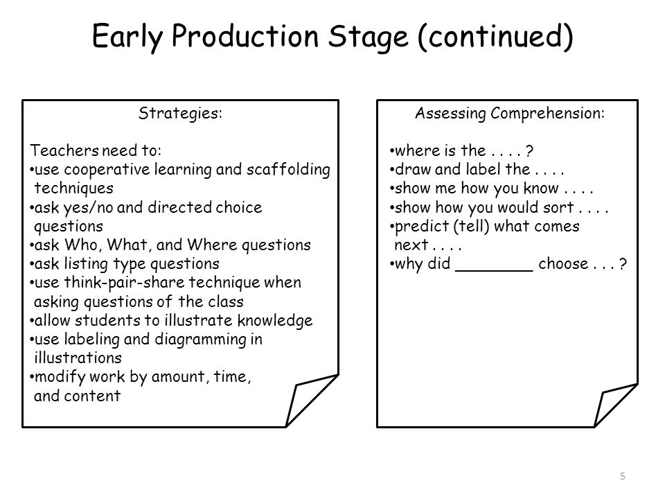 Early Production Stage (continued)