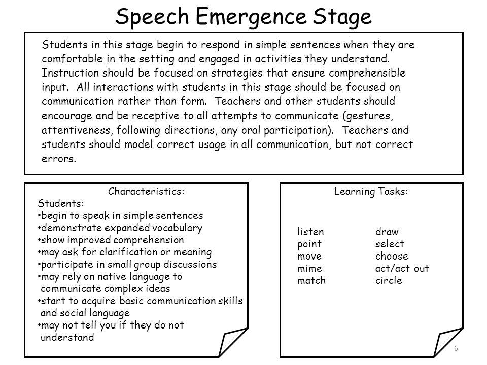 Speech Emergence Stage