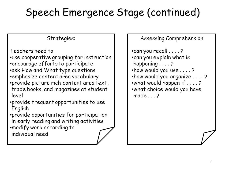 Speech Emergence Stage (continued)