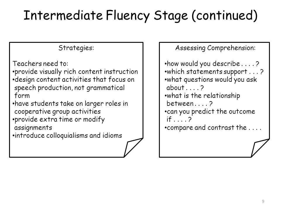Intermediate Fluency Stage (continued)