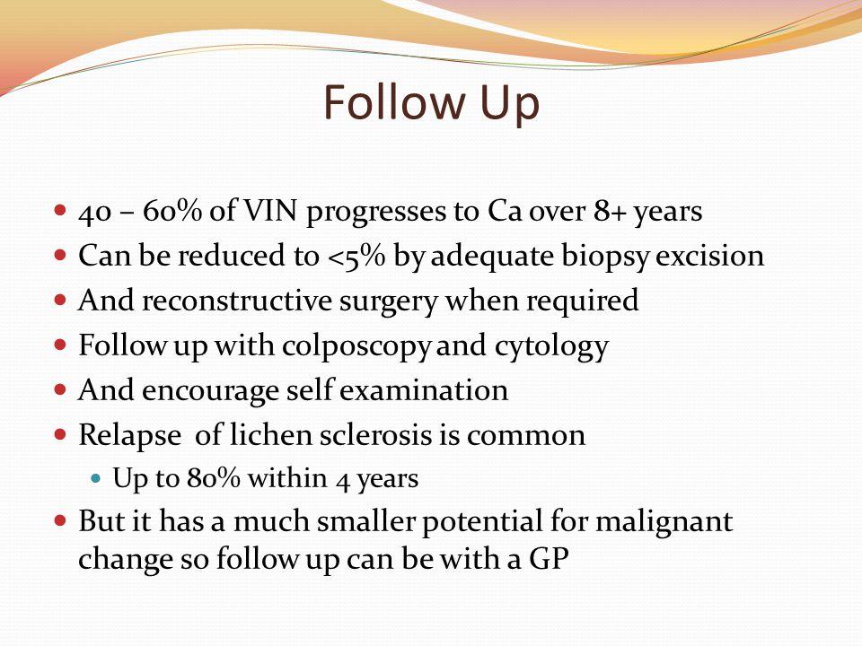 Follow Up 40 – 60% 0f VIN progresses to Ca over 8+ years