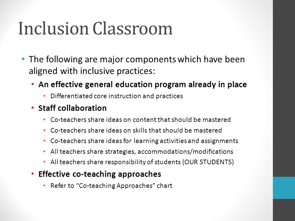 Education and inclusive classrooms co teaching