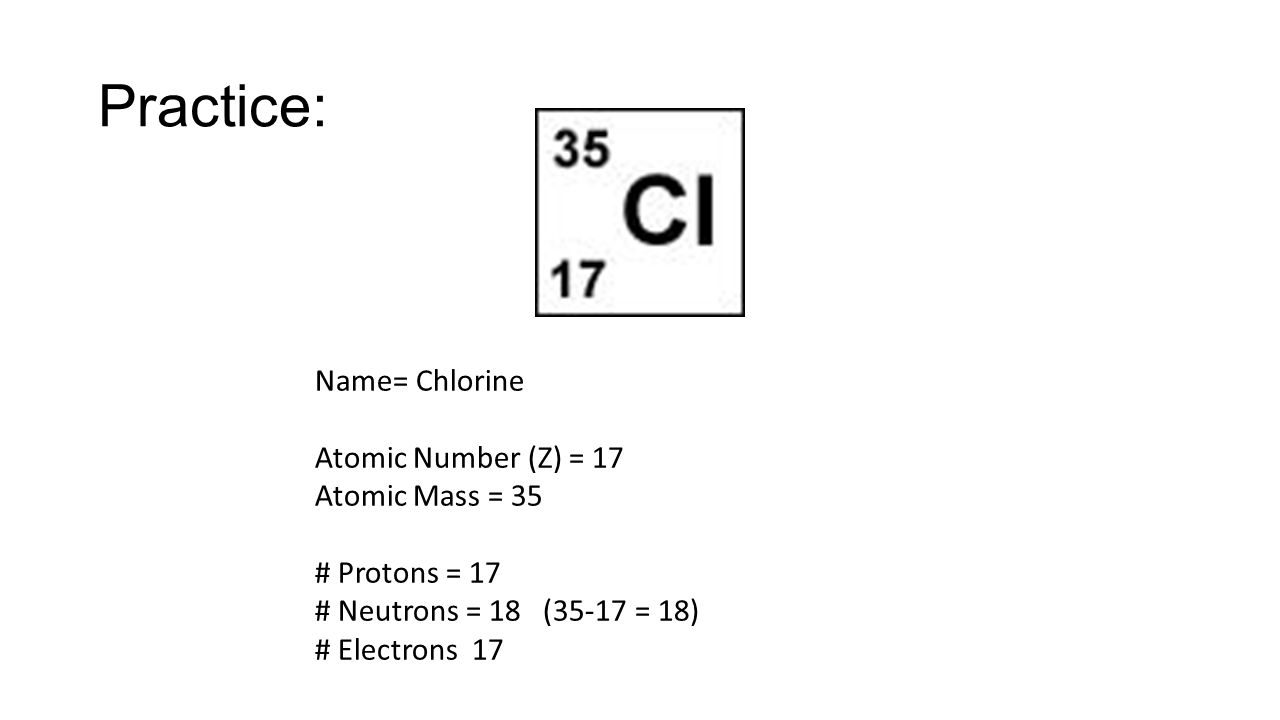 Unit six atomic structure ppt video online download practice name chlorine atomic number z 17 atomic mass 35 gamestrikefo Image collections