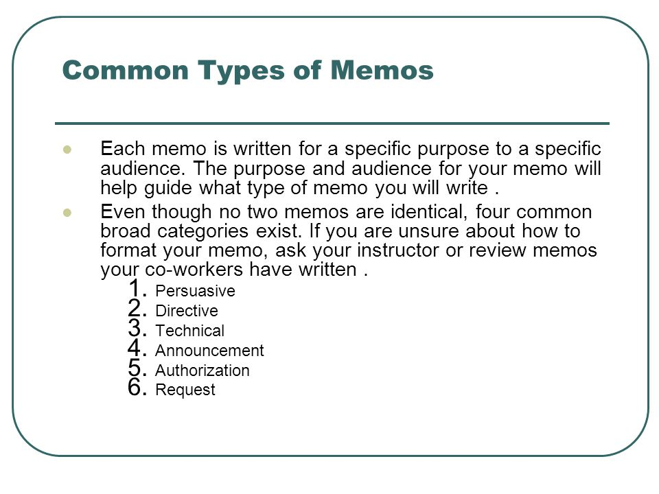 audience memo Use these memo examples to make sure your next memo is clear, consistent, and targeted at the right audience.