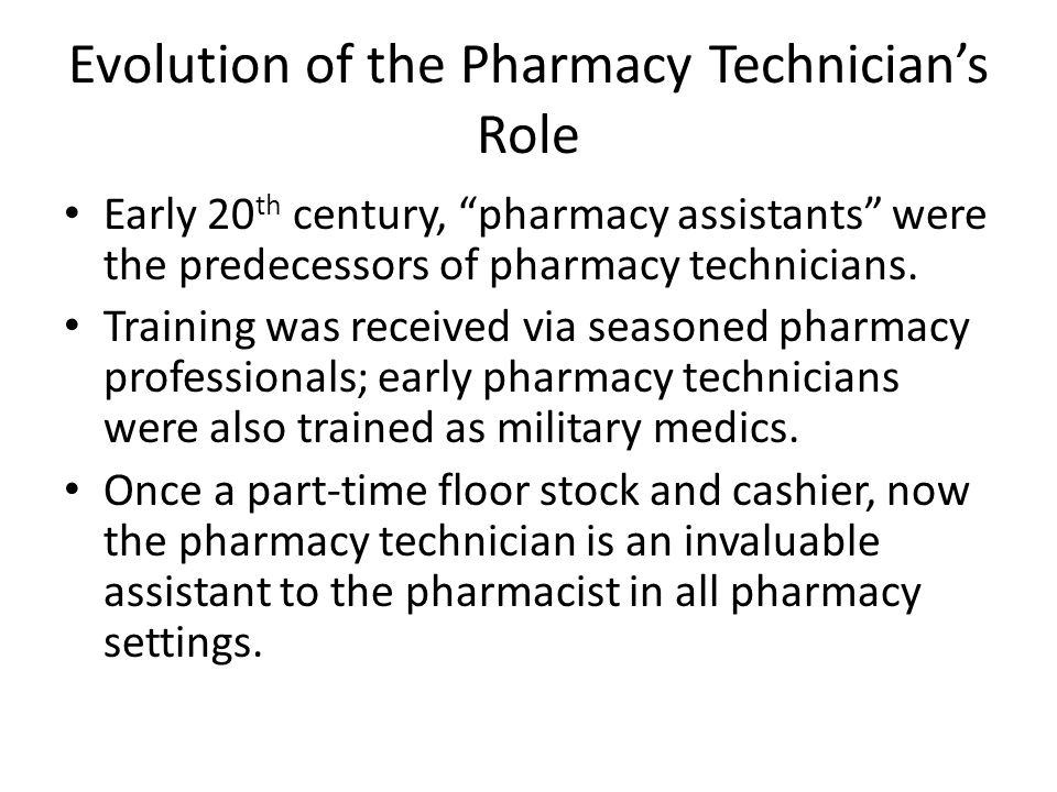 the role of institutional pharmacy technicians Pharmacy technicians  by other senior pharmacy technicians in the uk the role of a pht in hospital pharmacy  institutions and non-institutional.