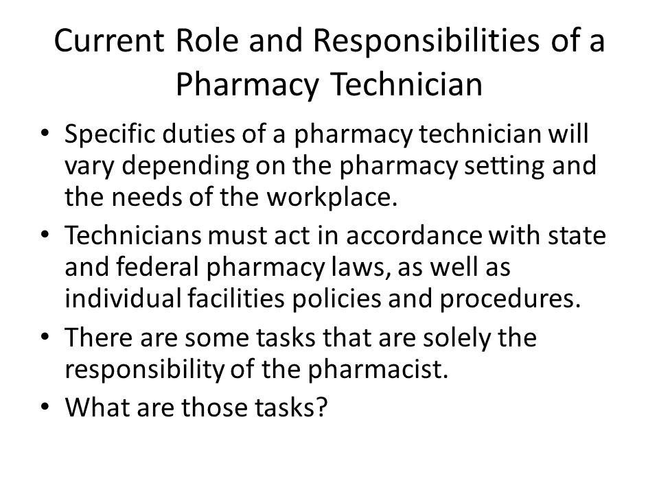 the role and responsibility of a pharmacist Pharmacist objectives: ▫ discuss implementation of discharge pharmacist  program ▫ review daily tasks of a discharge pharmacist ▫ describe an example  case.