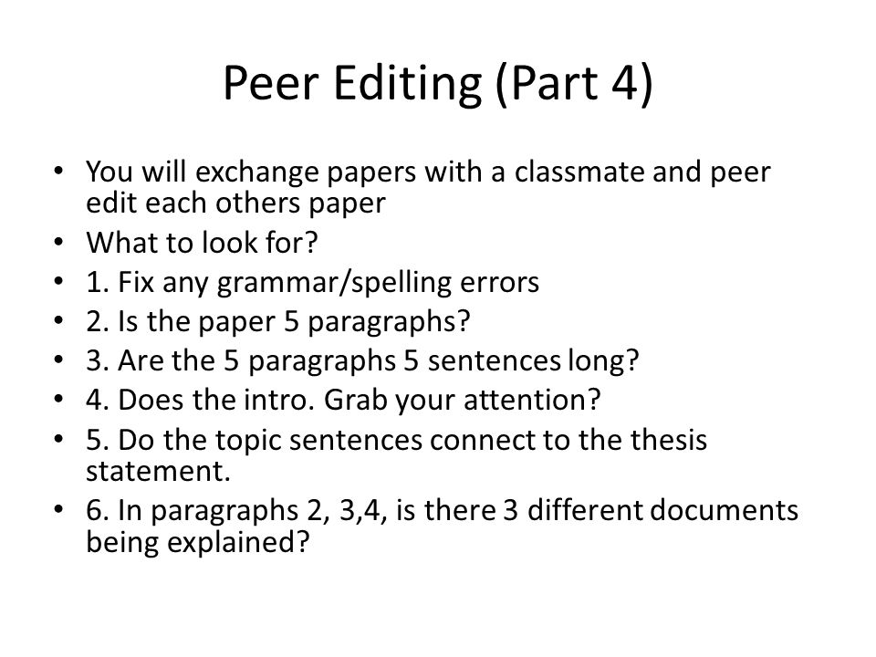 peer editing thesis statement Descriptive essay peer editing worksheet visit the post for more essay about spanish football kelley essay analysis history thesis statement generator.