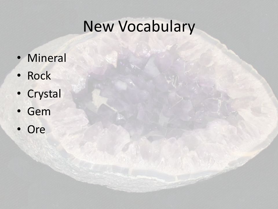 New Vocabulary Mineral Rock Crystal Gem Ore