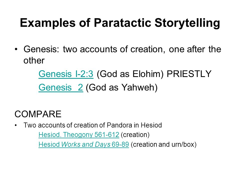 creation story yahwist and priestly account The textual tradition known as the yahwist (j) was so named by academics because of its consistent and unequivocal use of the god of israel's name, yahweh 1 even though the divine name appears approximately 1,800 times in the pentateuch alone, the other pentateuchal sources (elohist, deuteronomist, and priestly) restrain from using it prior to its revelation to moses in exodus: at 3:14-15.