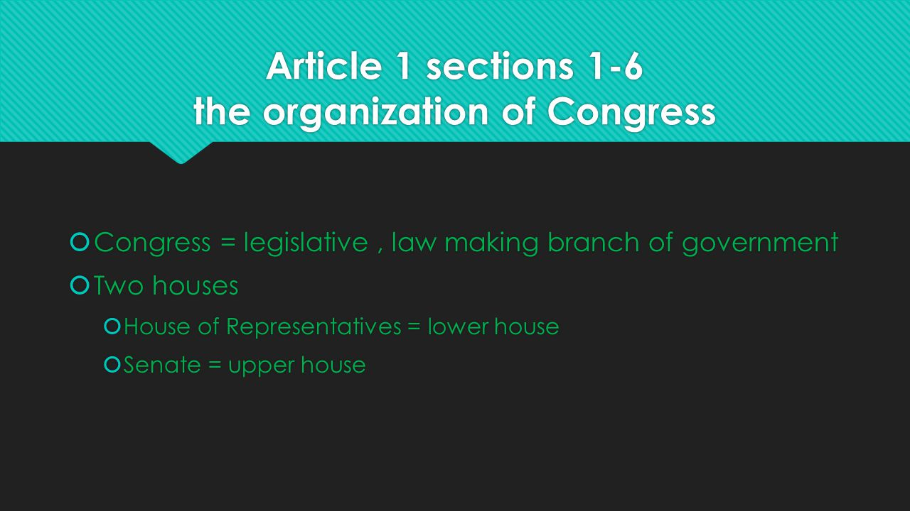 Article 1 sections 1-6 the organization of Congress