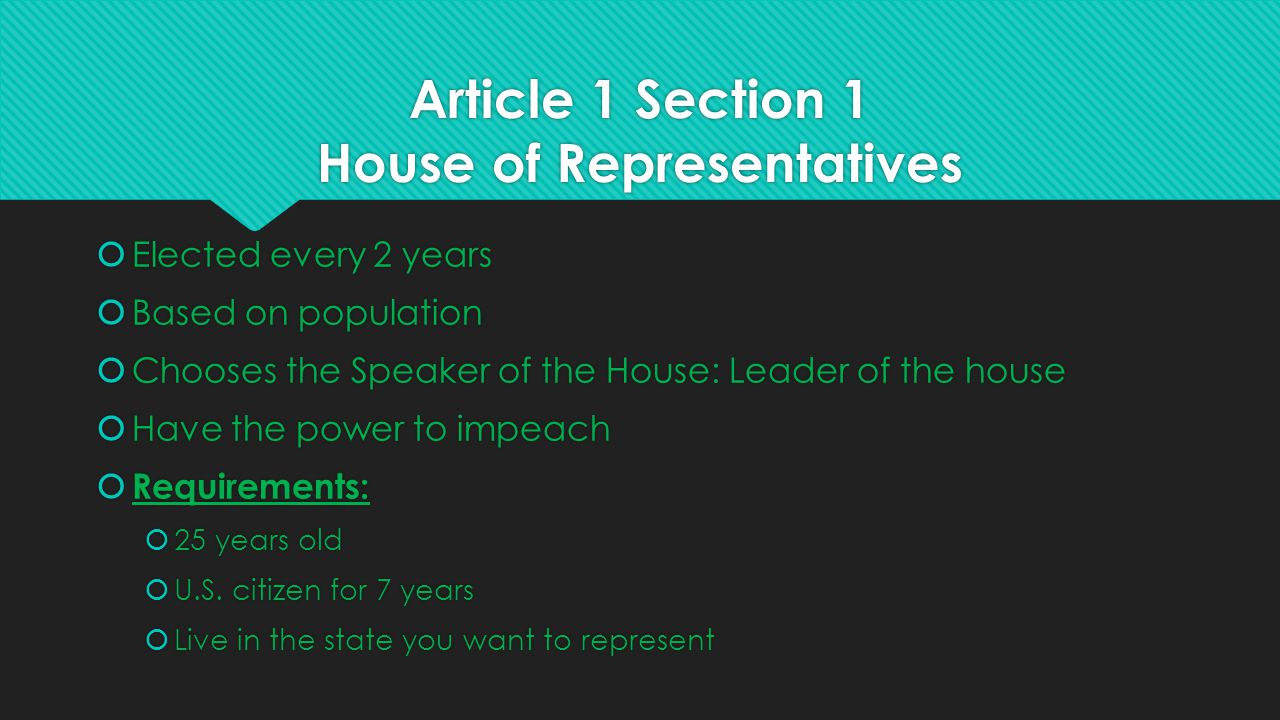 Article 1 Section 1 House of Representatives