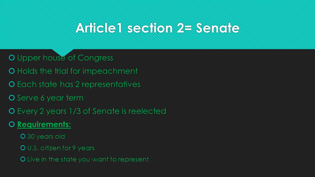 Article1 section 2= Senate