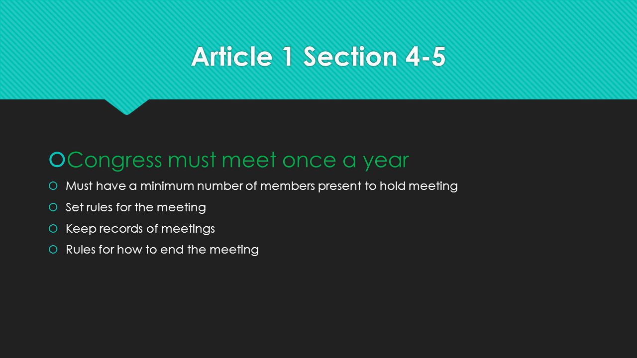 Article 1 Section 4-5 Congress must meet once a year