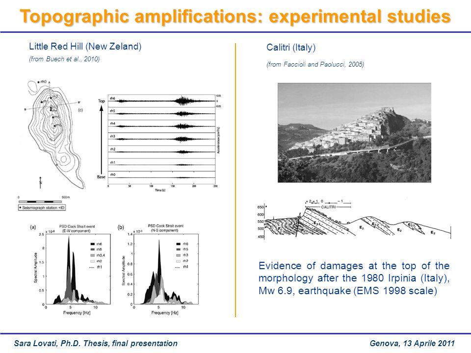 Topographic amplifications: experimental studies
