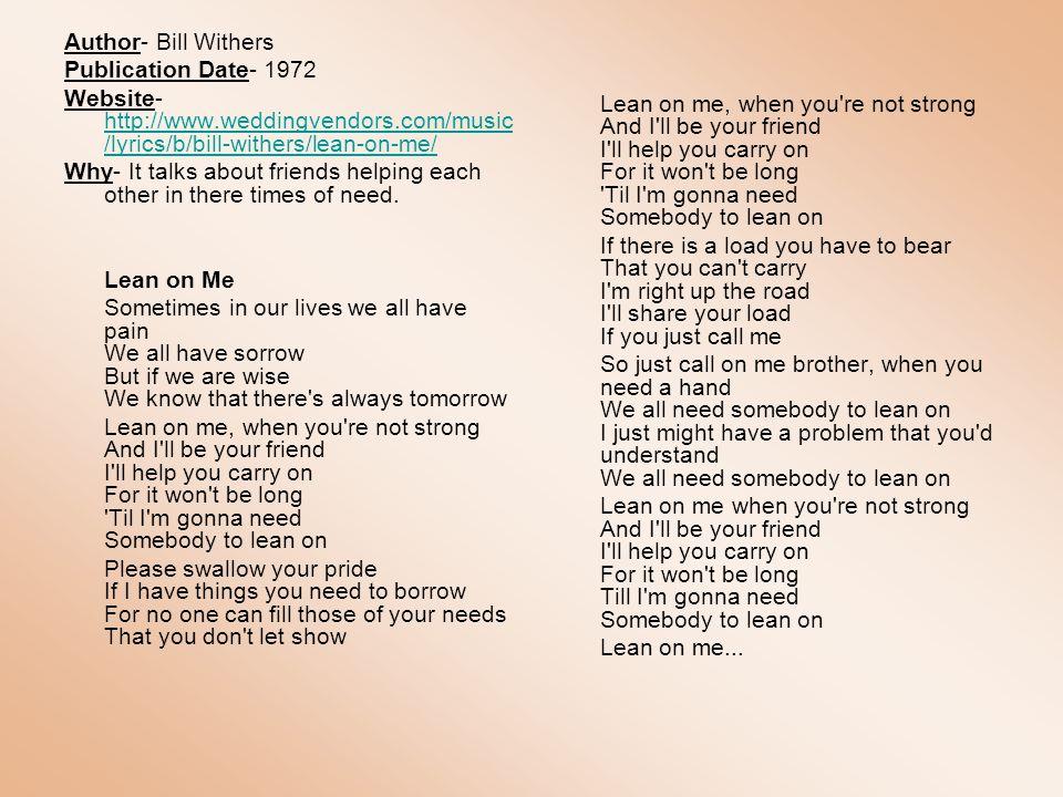 Lyric lean on me with lyrics : By: Erika LeBakken 1st Block Coach Hutchins - ppt video online ...