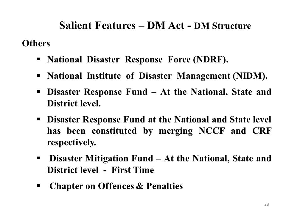 implementation of national disaster management act To strengthen reporting on implementation of policy and legislation relating to disaster risk reduction and management of allocated funding to municipal and provincial intergovernmental forums established in terms of the intergovernmental relations framework act, 2005.