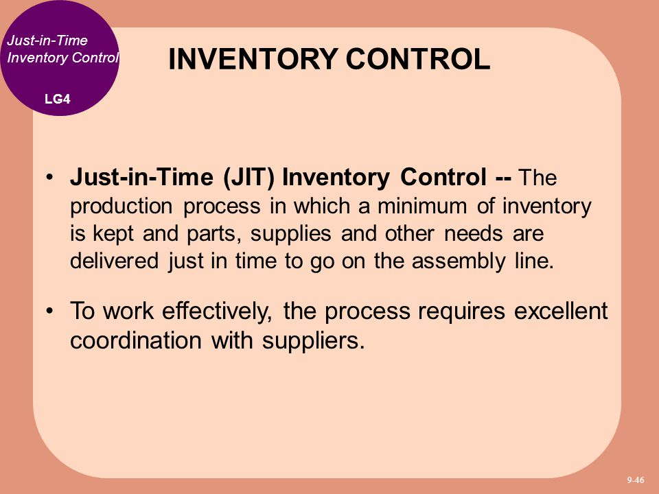 just in time inventory Just-in-time inventory minimizes the costs of carrying inventory, although it  requires accurate product demand forecasting and reliable.