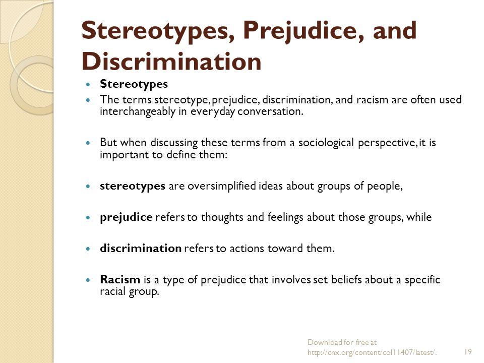 prejudice stereotypes and discrimination Prejudice, stereotypes, and discrimination essay the regulation of individuals' social behavior is carried out through the system of individual attitudes the forms of attitudes, stable and closed from the influence of new experience, are presented by stereotypes and prejudices.