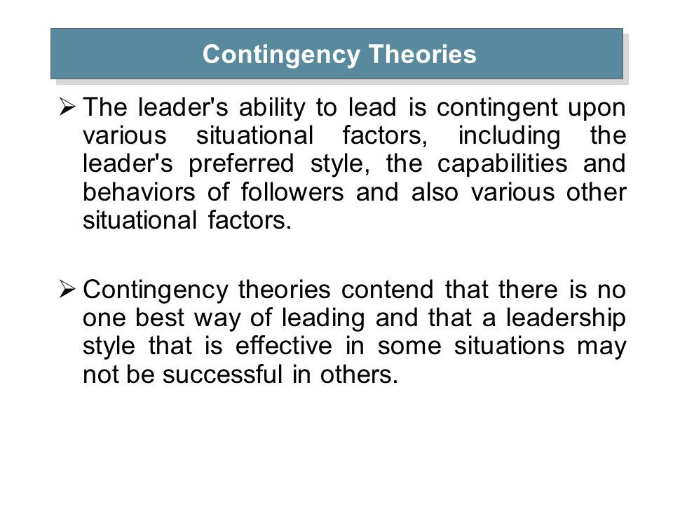 check point contingency theory of leadership