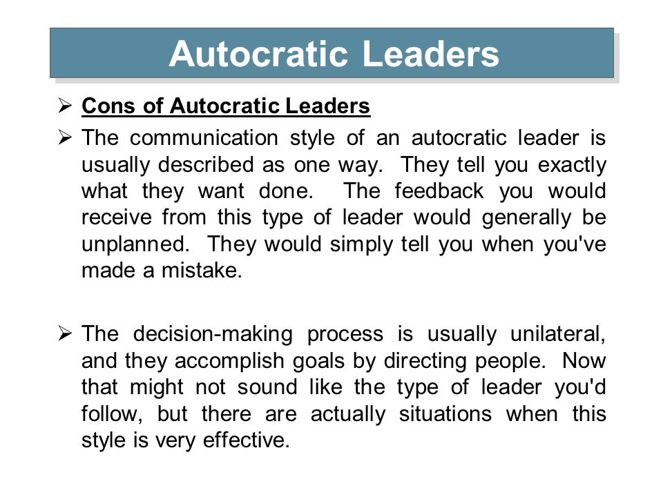 An analysis of the type of leadership style