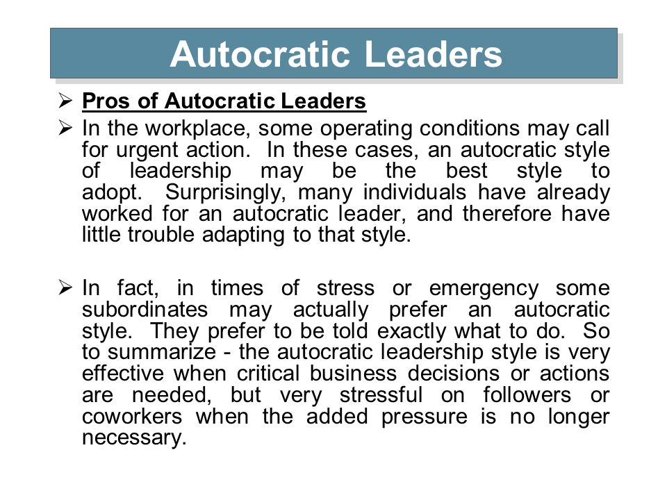 case study of autocratic style of leadership