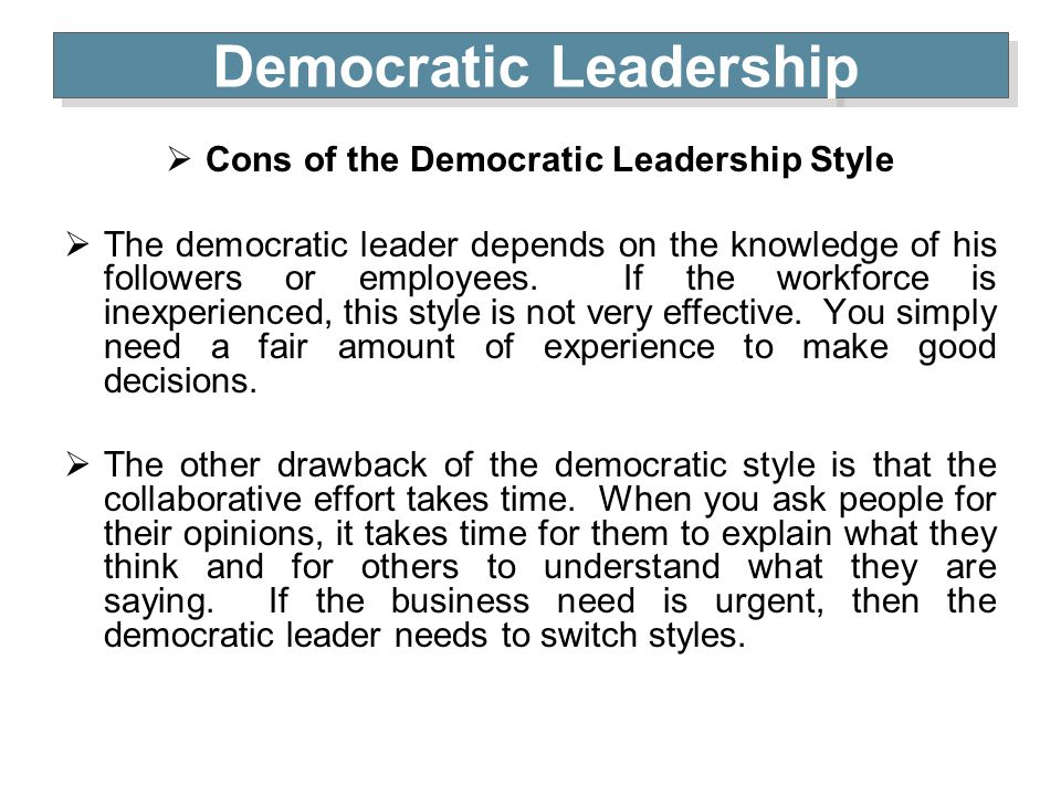 Democratic leadership essay