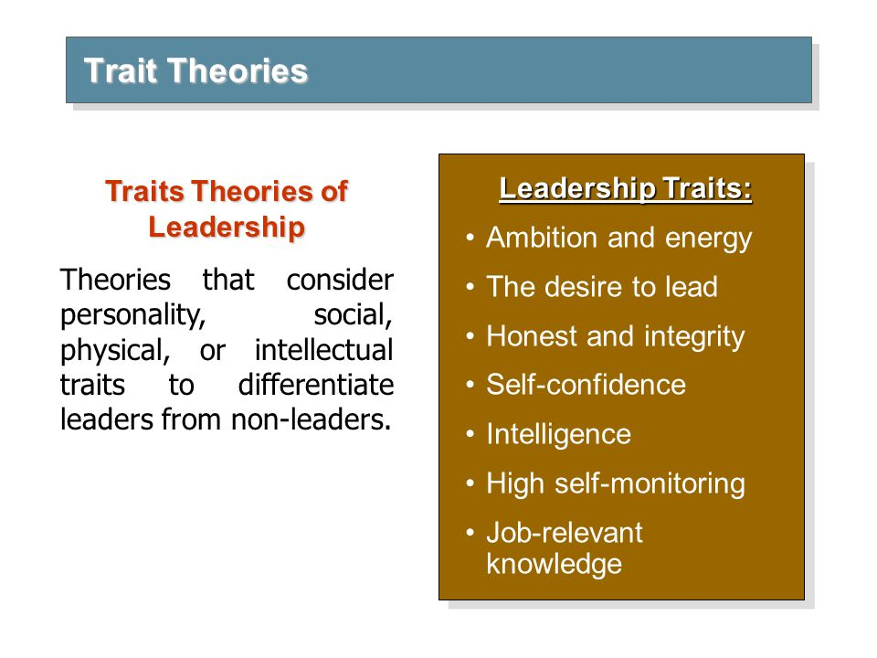 limitations on leadership theories Personnel psychology 2011, 64, 7–52 trait and behavioral theories of leadership: an integration and meta-analytic test of their relative validity.