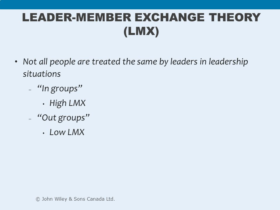 leadership member exchange theory Specific features of this theory and try to identify the possible benefits of employ-ing it the leader–member exchange theory can be considered a process approach.