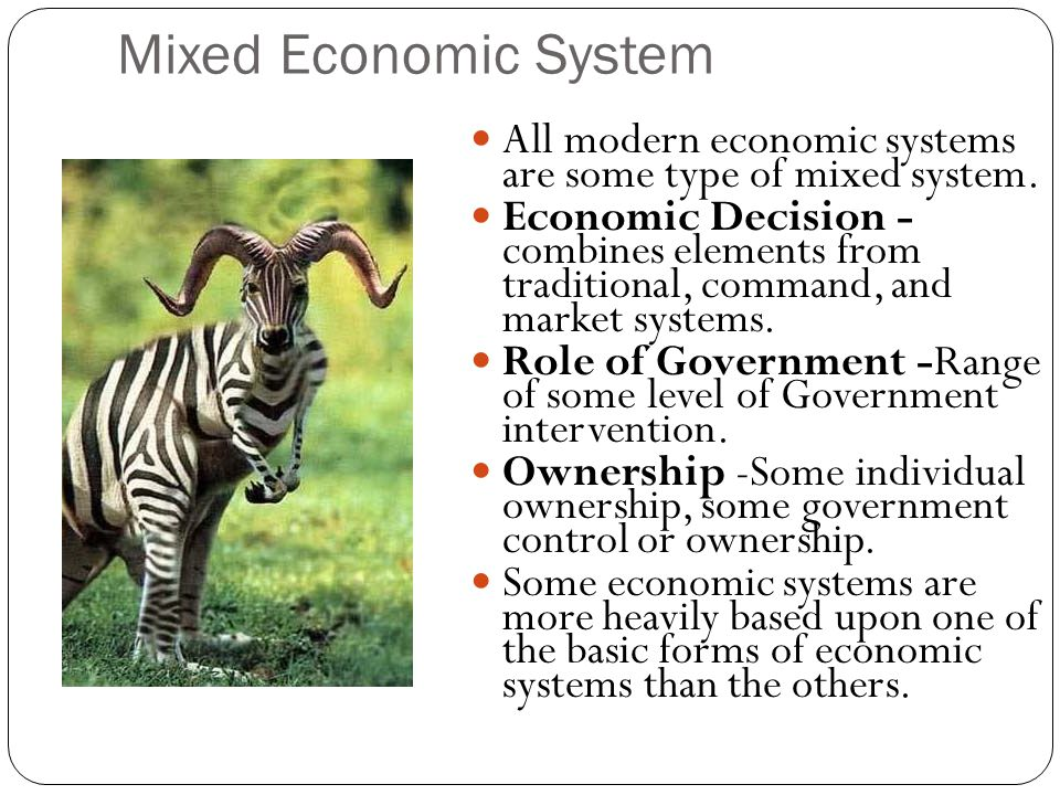 the mixed economy system of malaysia • a mixed economic system: combines elements of the market and command economy many economic decisions are made in the market by individuals but the government also plays a role in the allocation and distribution of resources.