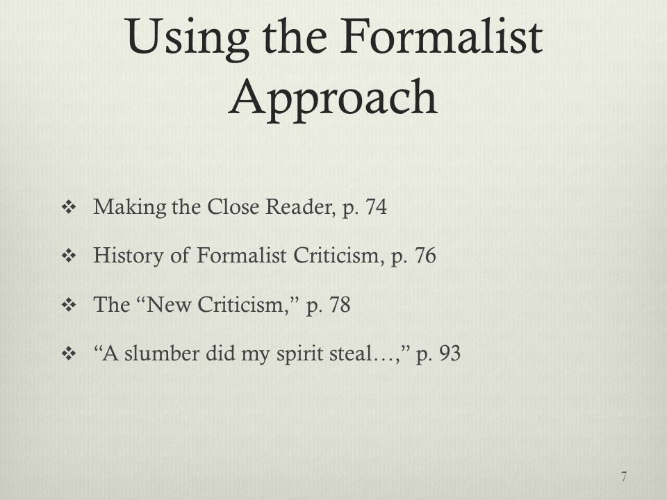 Using a formalist approach in your critical essay