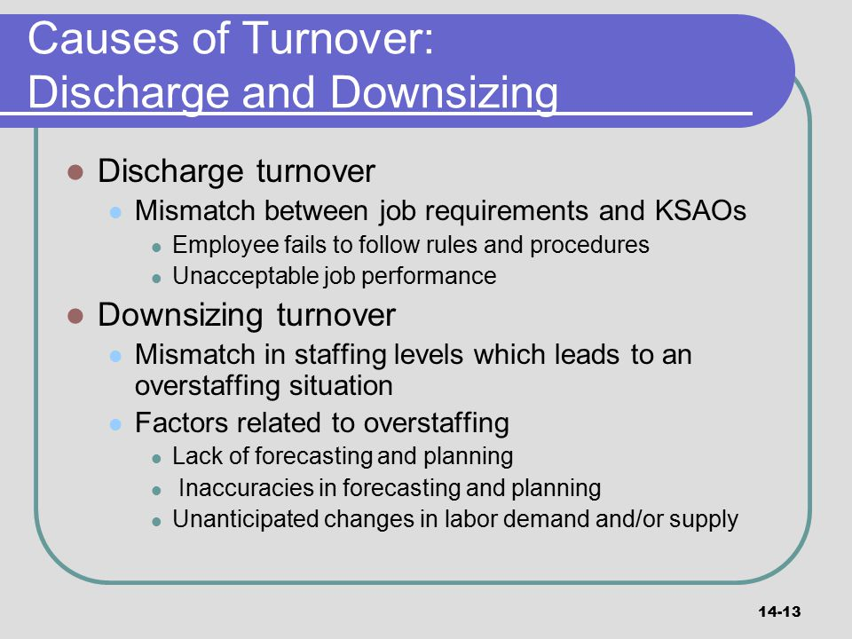 Causes of Turnover: Discharge and Downsizing