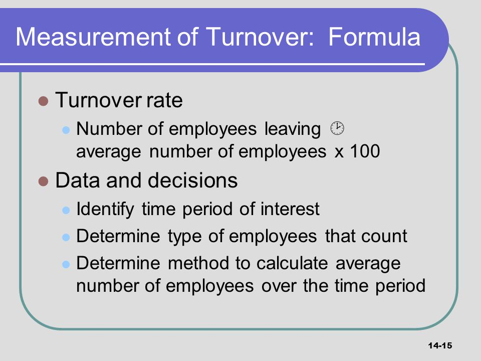 Measurement of Turnover: Formula