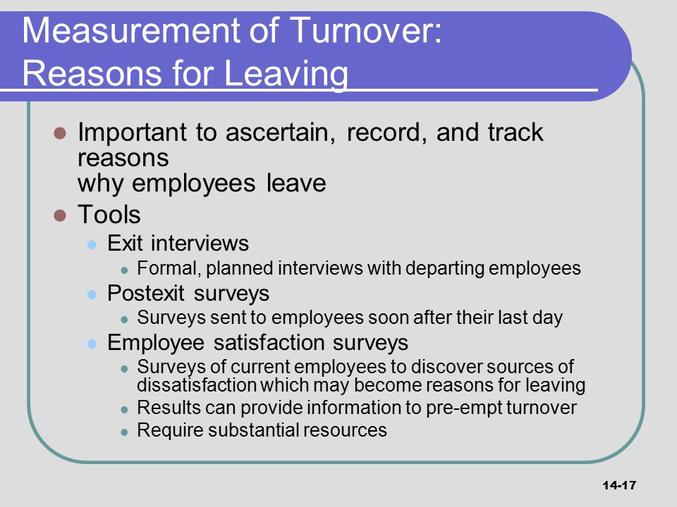 Measurement of Turnover: Reasons for Leaving