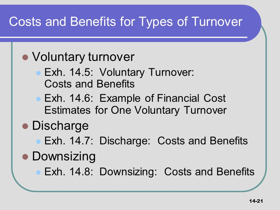Costs and Benefits for Types of Turnover