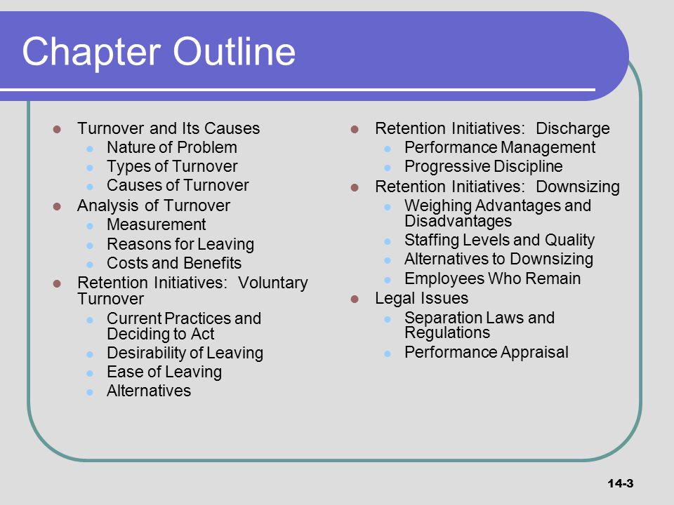 Chapter Outline Turnover and Its Causes Analysis of Turnover