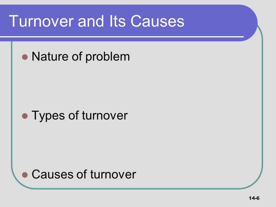 Turnover and Its Causes