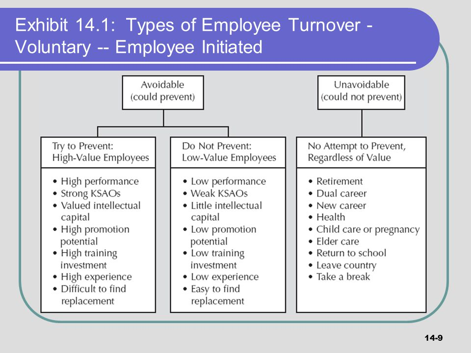 Exhibit 14.1: Types of Employee Turnover - Voluntary -- Employee Initiated