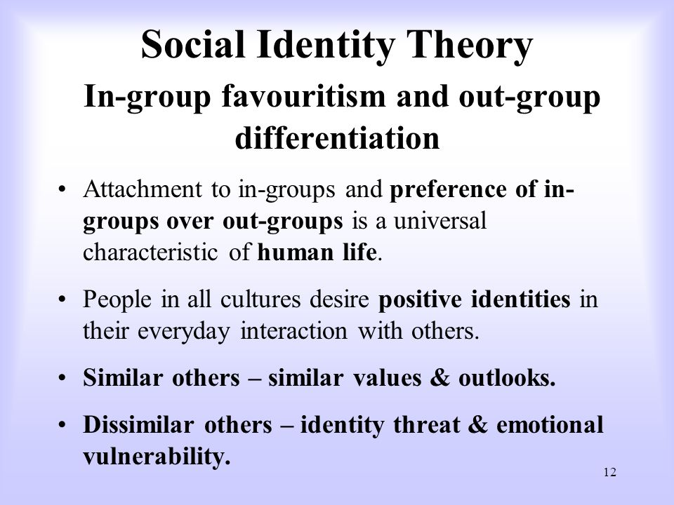 identity theories There are two psychological theories, which explore personal and social identity the social identity theory (tajfel, 1978) and the identity theory (stryker, 1980) this essay approaches the subject that identity is social, not personal with the help of empirical research.
