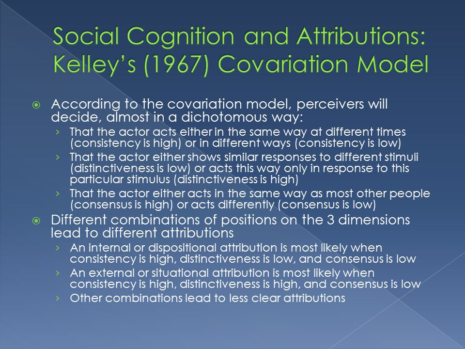 evaluate kelleys co variation model of attribution Quotes about harold kelley harold kelley's long-term relationship with john thibaut, from 1953 until thibaut's demise in 1986, is considered an exemplary model of scientific collaboration attribution (kelley, 1967, p 194.
