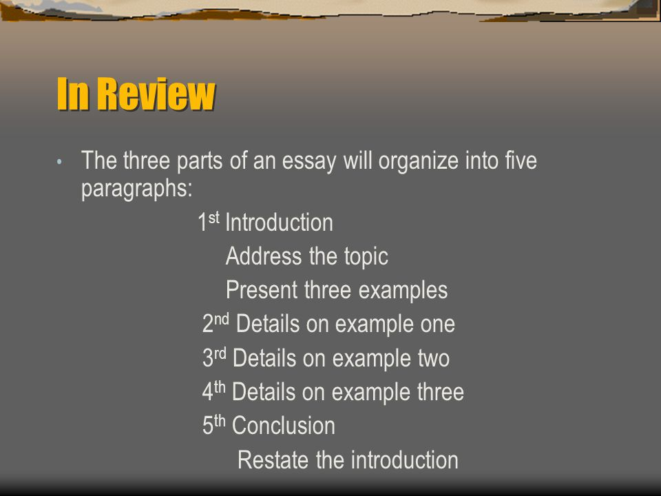 name the three parts of an essay I'm in a public speeking class and writting an informative speech i would like to know the four parts that are in that introduction thank you.