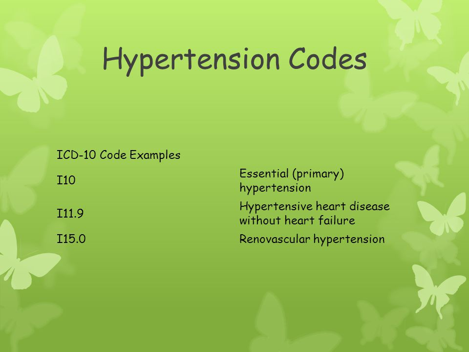 Hypertension Codes ICD 10 Code Examples I10