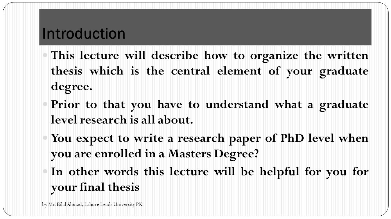 How to Write a Paper at the Master's Degree Level
