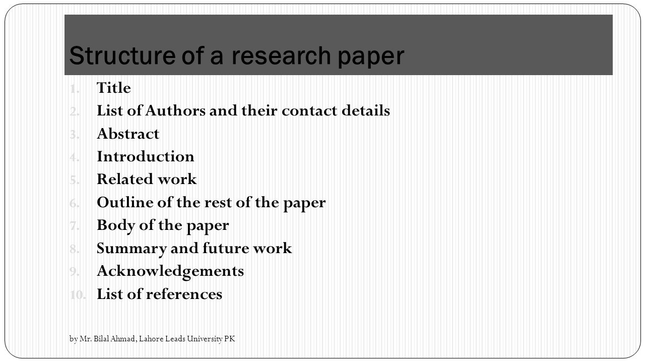 advanced research methodology ppt video online  structure of a research paper