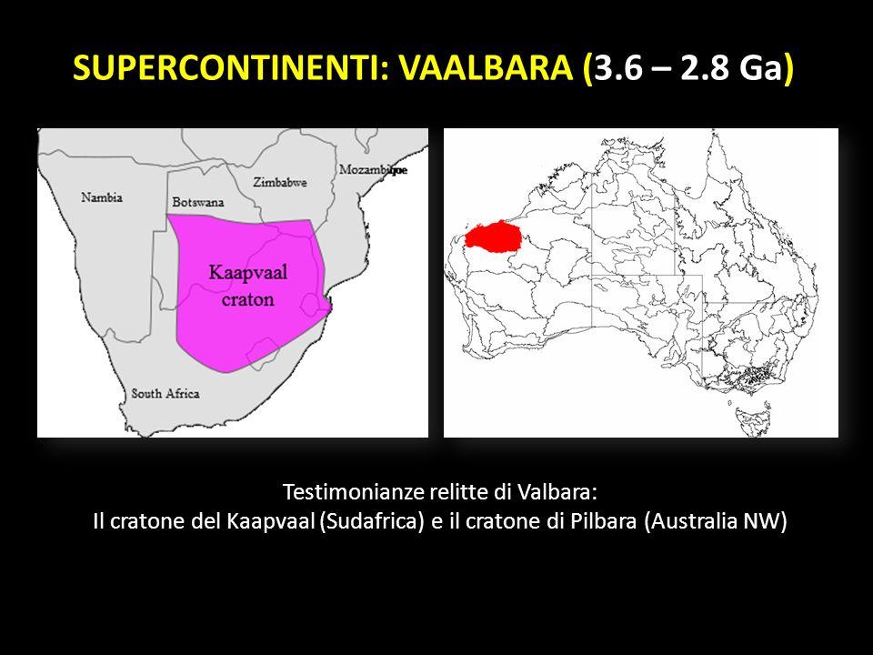 SUPERCONTINENTI: VAALBARA (3.6 – 2.8 Ga)